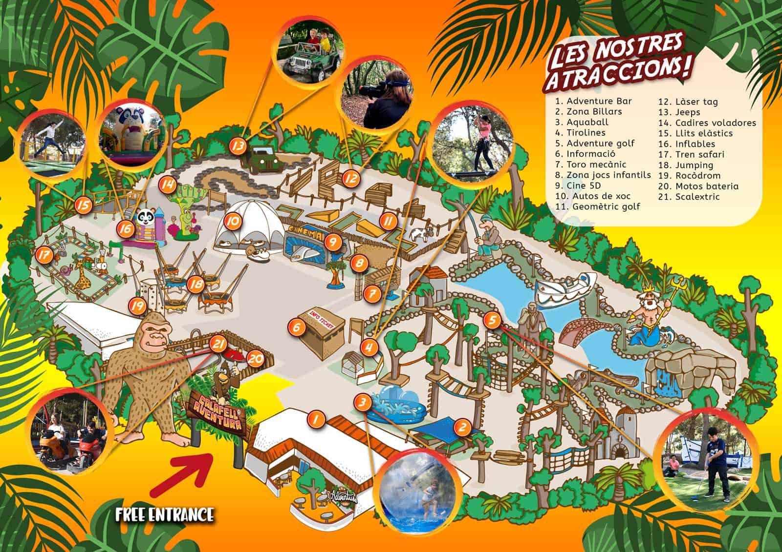 mapa del parque Calafell aventura
